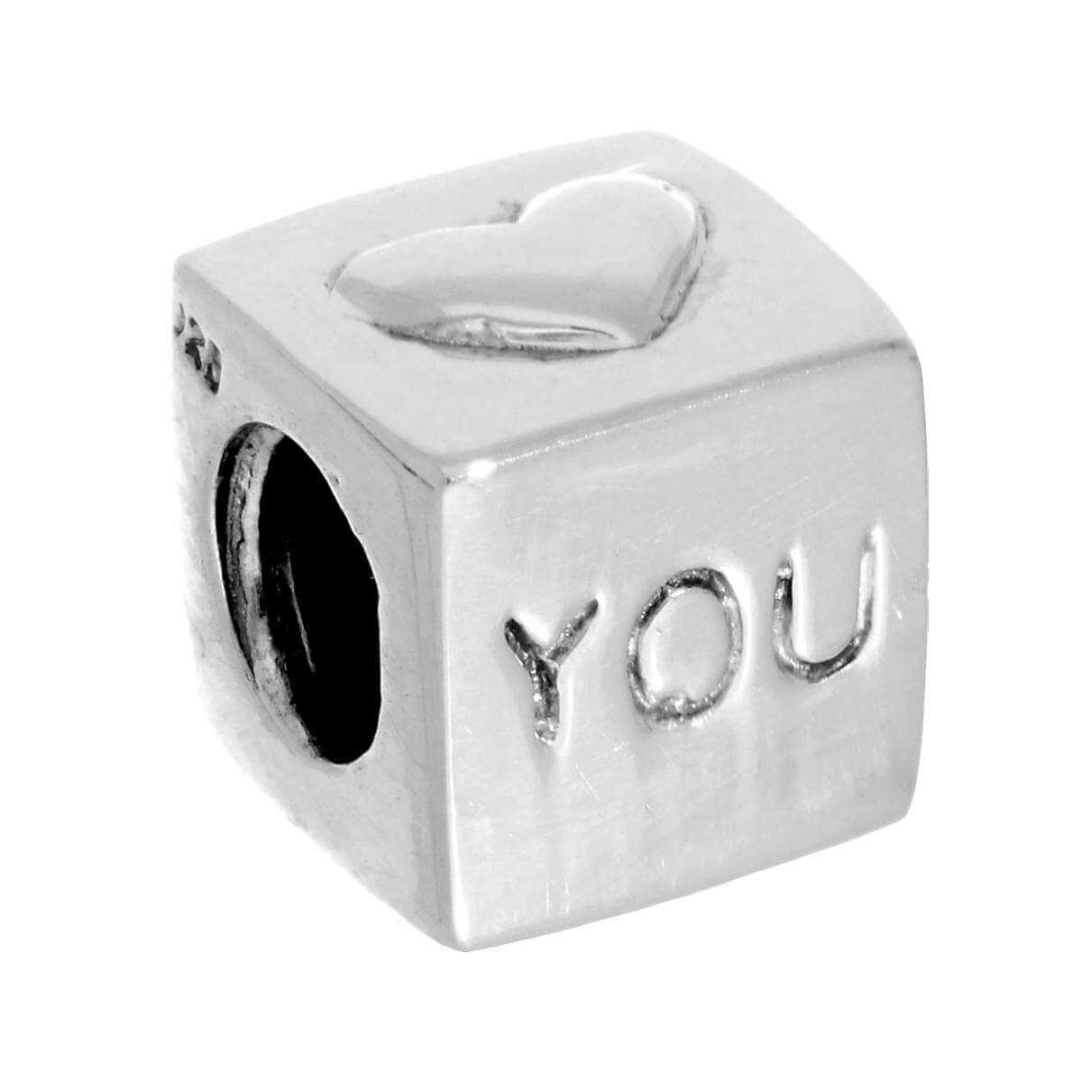 Sterling Silver I Love You Cube Bead Charm