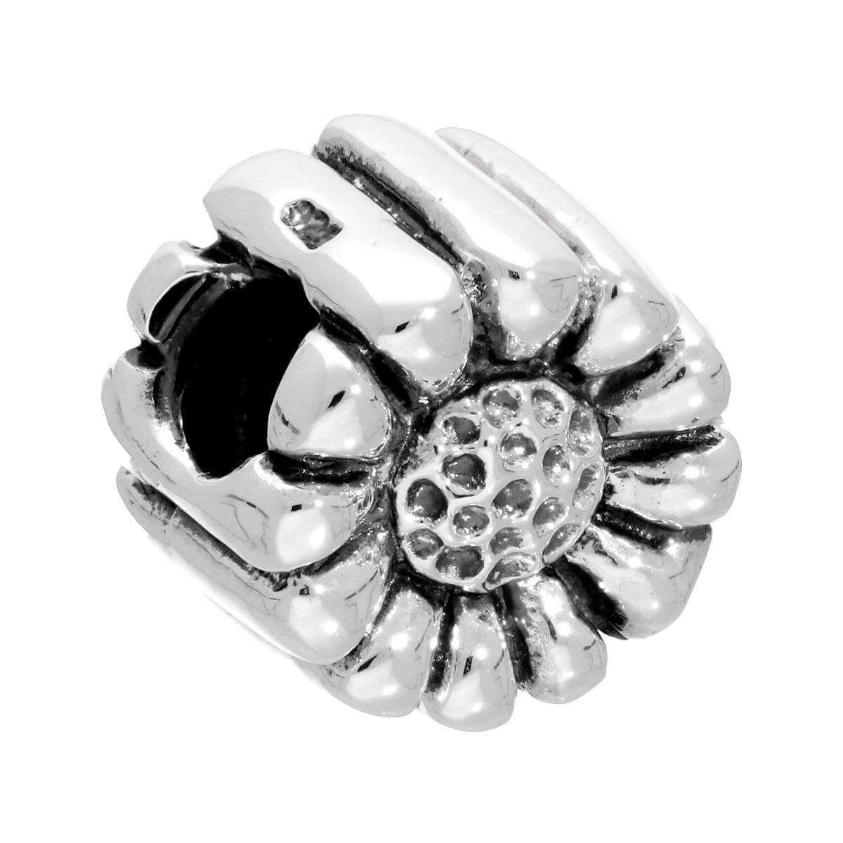 Sterling Silver Puffed Flower Bead Charm