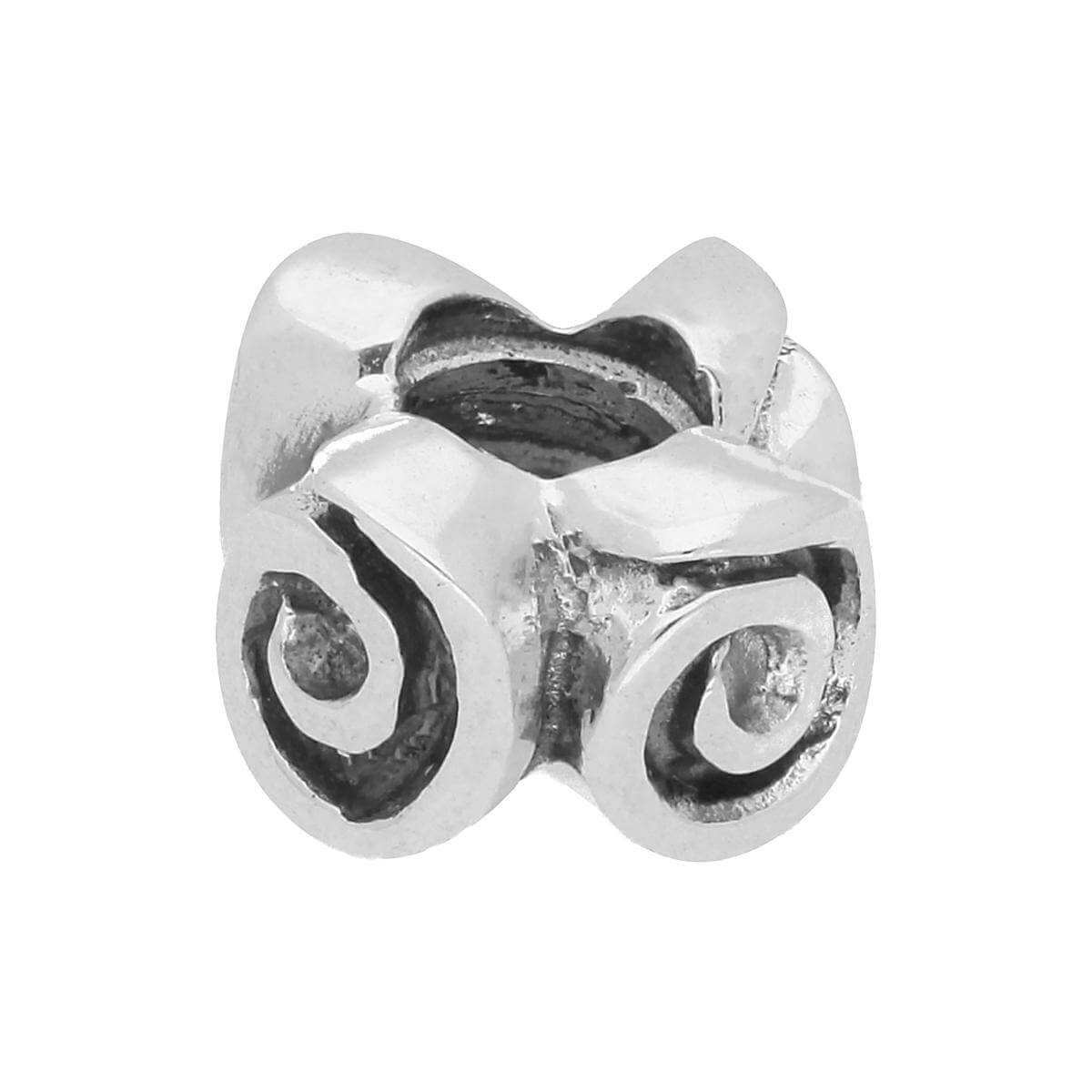Sterling Silver Spiral Flower Bead Charm