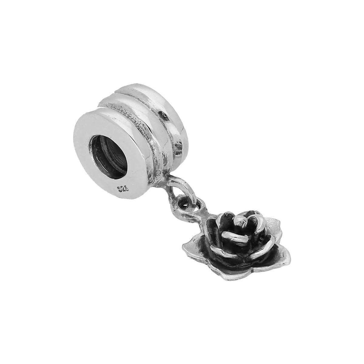 Sterling Silver Hanging Rose Bead Charm