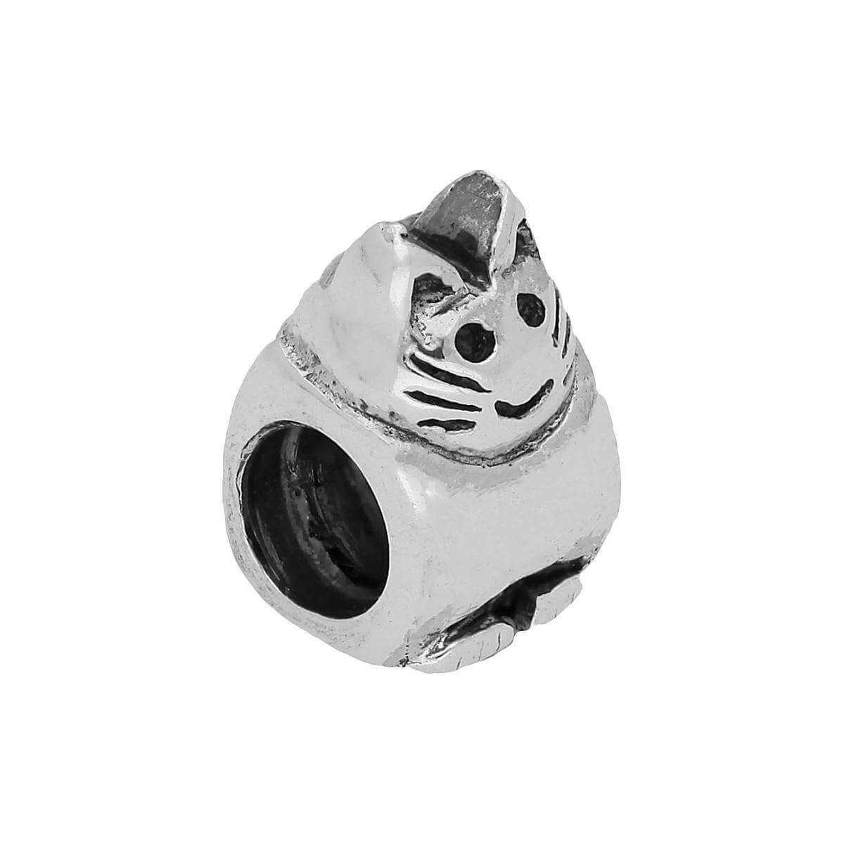 Sterling Silver Sitting Cat Bead Charm