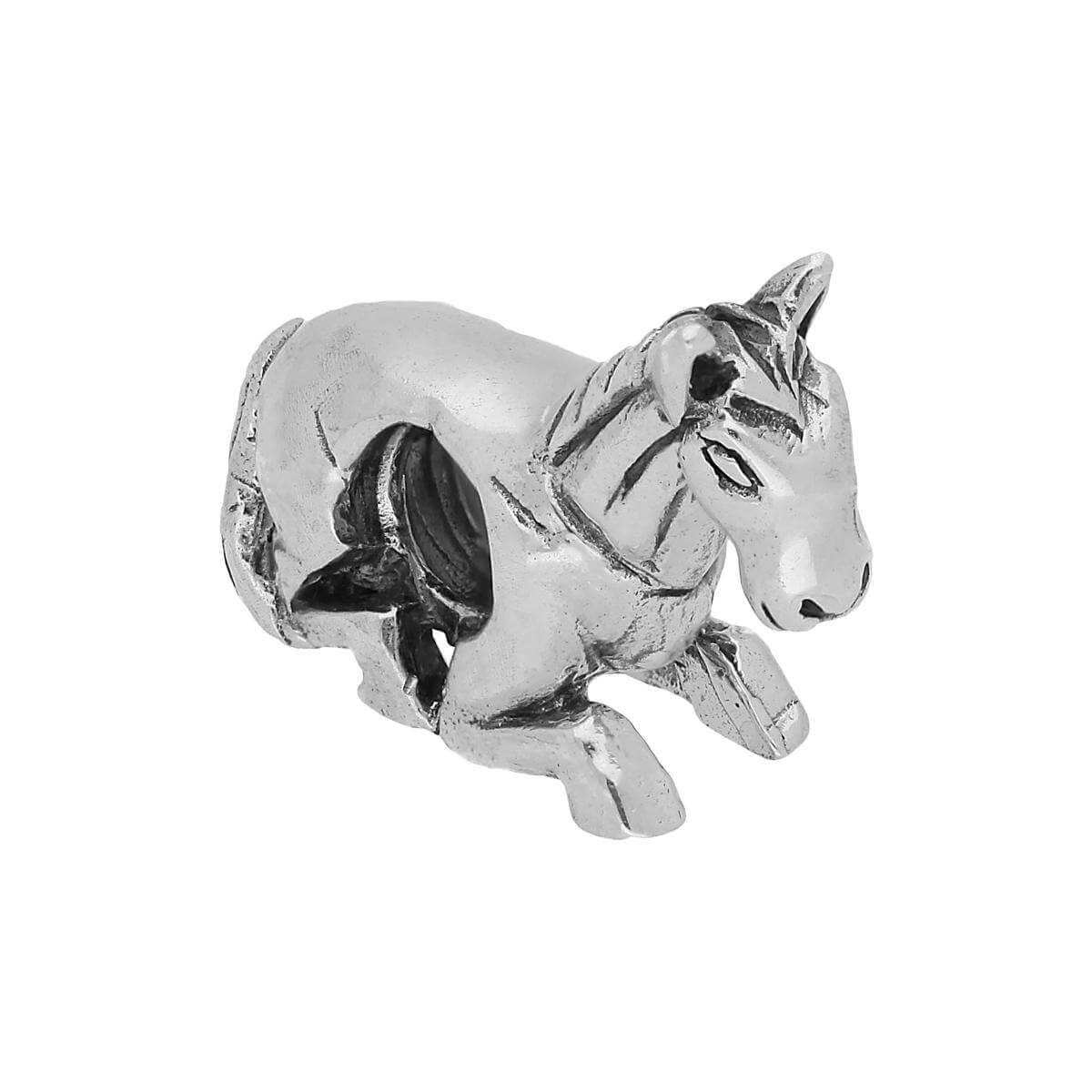 Sterling Silver Lying Horse Bead Charm