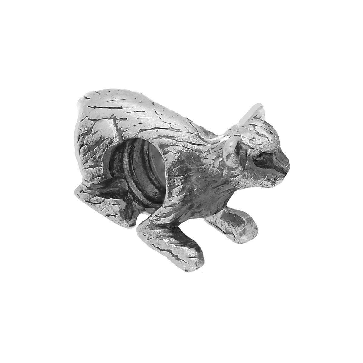 Sterling Silver Lying Cat Bead Charm