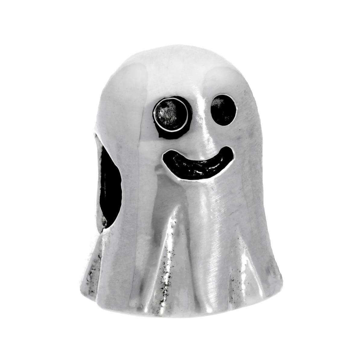 Sterling Silver Retro Gaming Ghost Bead Charm