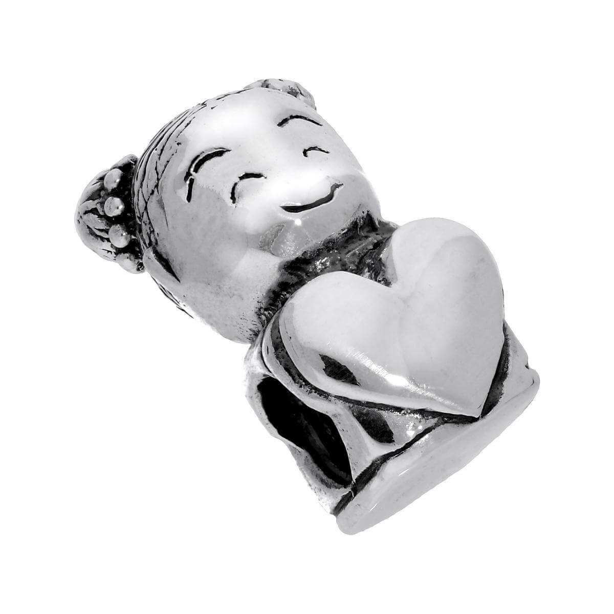 Sterling Silver Baby Girl Bead Charm with Heart