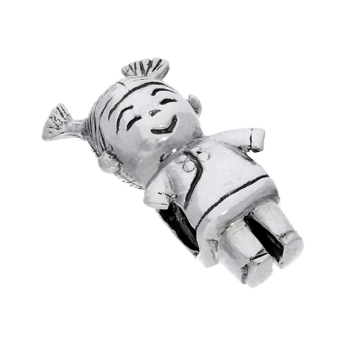 Large Sterling Silver Cute Baby Girl Bead Charm