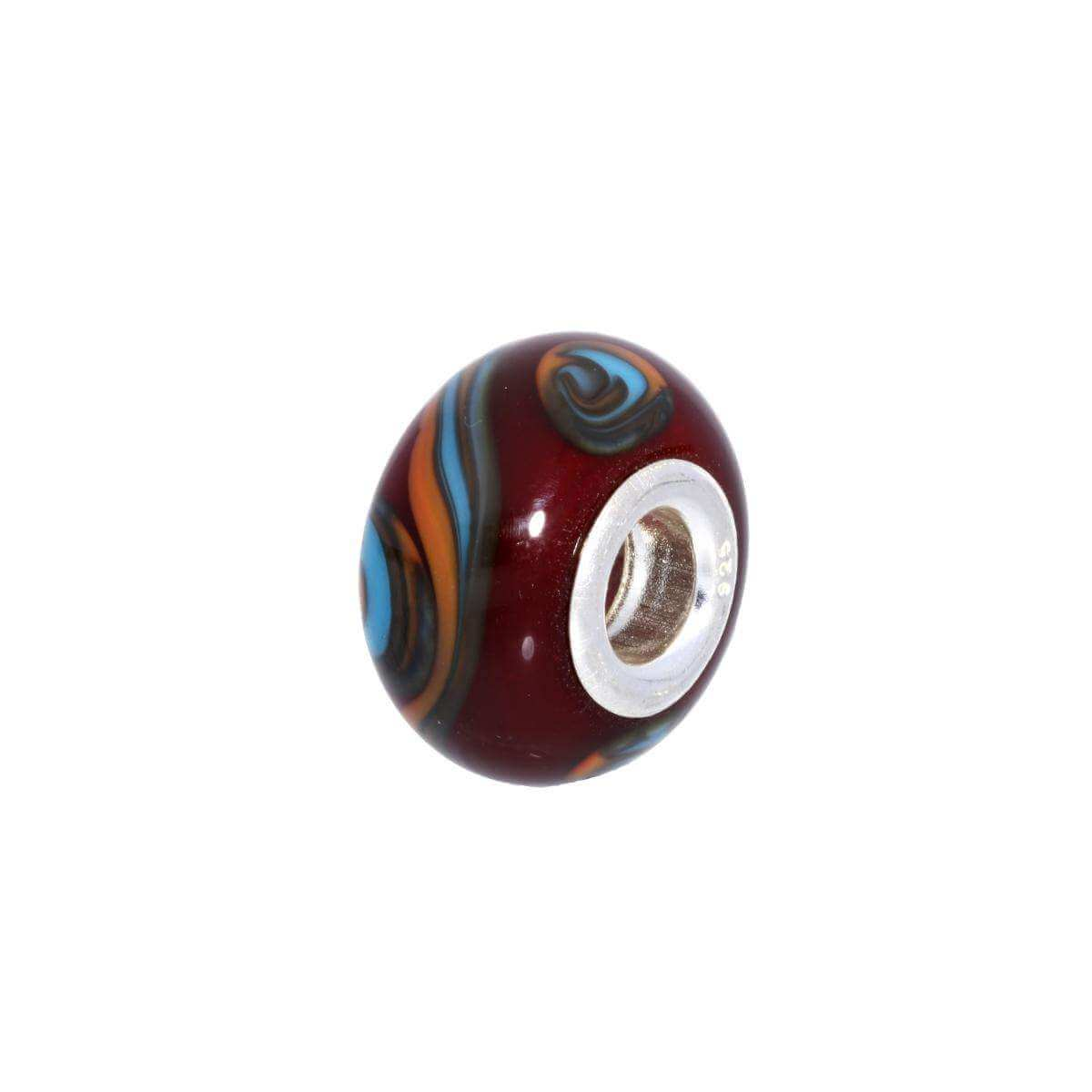 Sterling Silver & Red Glass Abstract Bead Charm