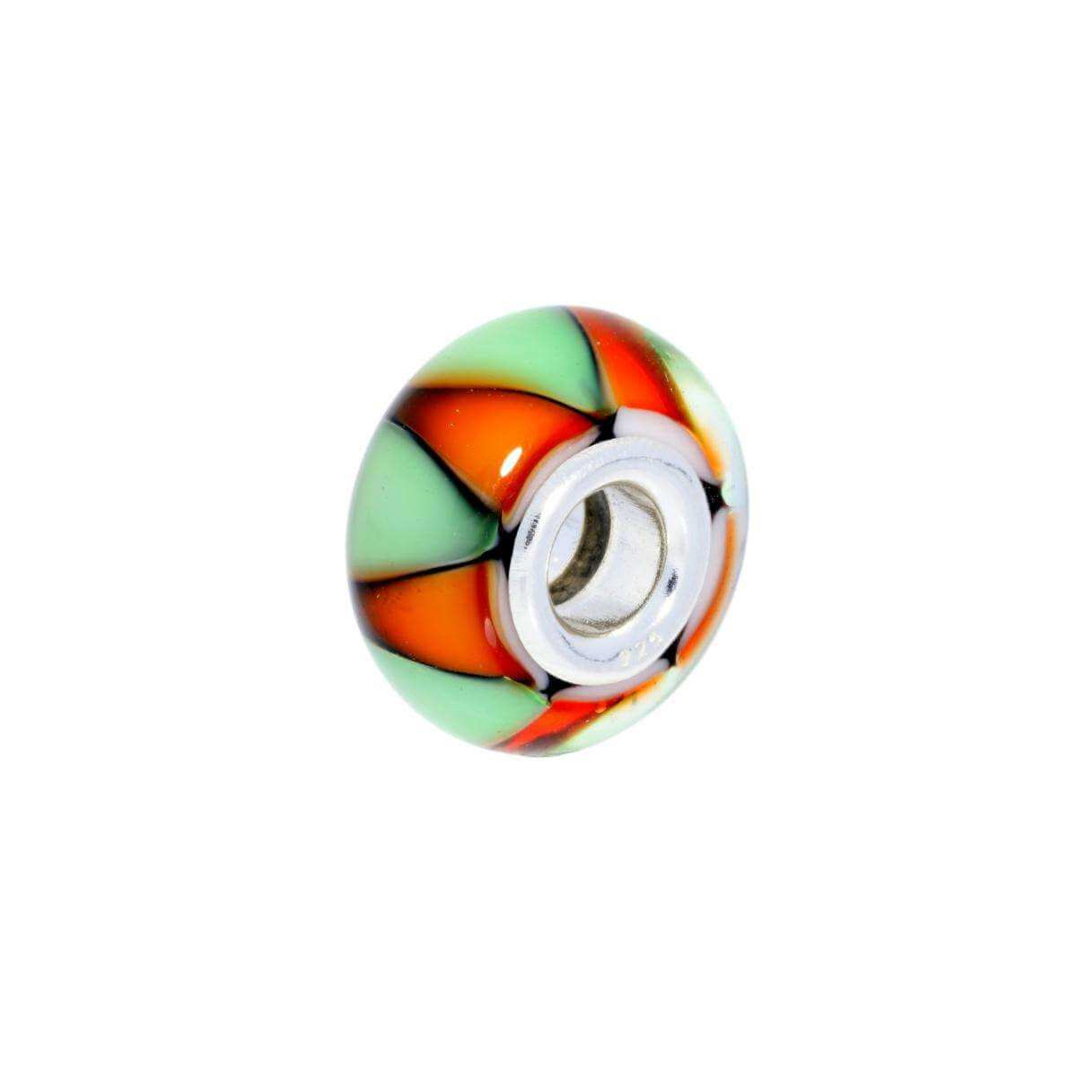 Sterling Silver Green & Orange Glass Bead Charm