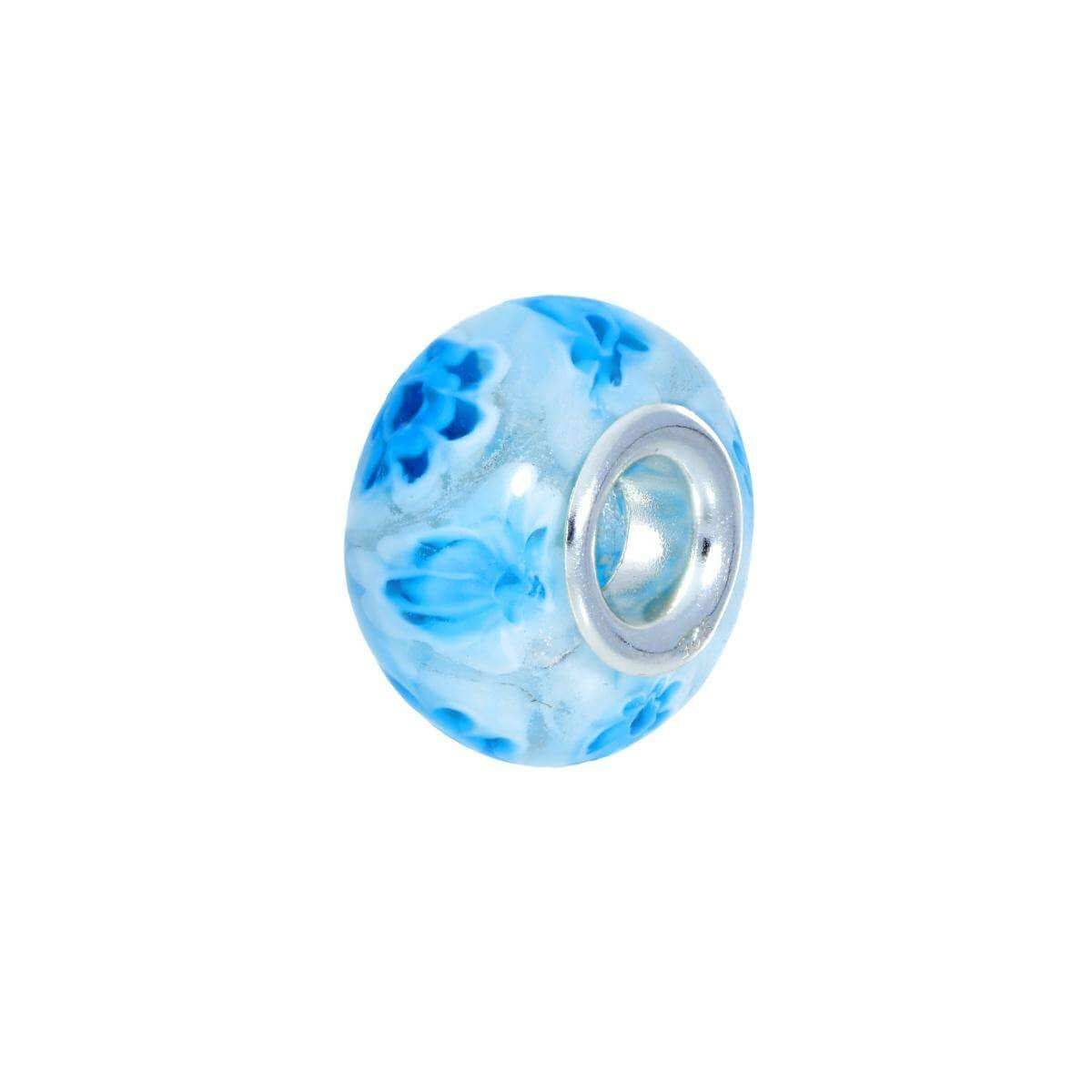 Sterling Silver and Floating Blue Flowers Glass Bead Charm