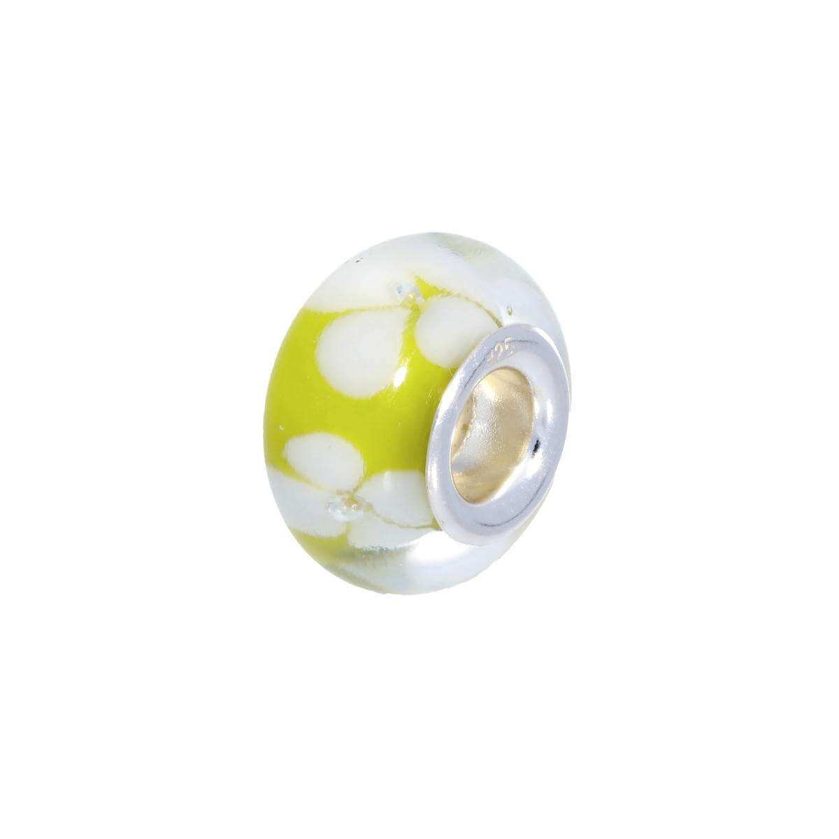 Sterling Silver & Yellow Glass Bead Charm with White Flowers