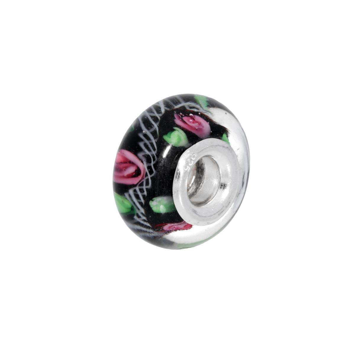 Sterling Silver Black Glass Bead Charm with Pink Green and White Detailing