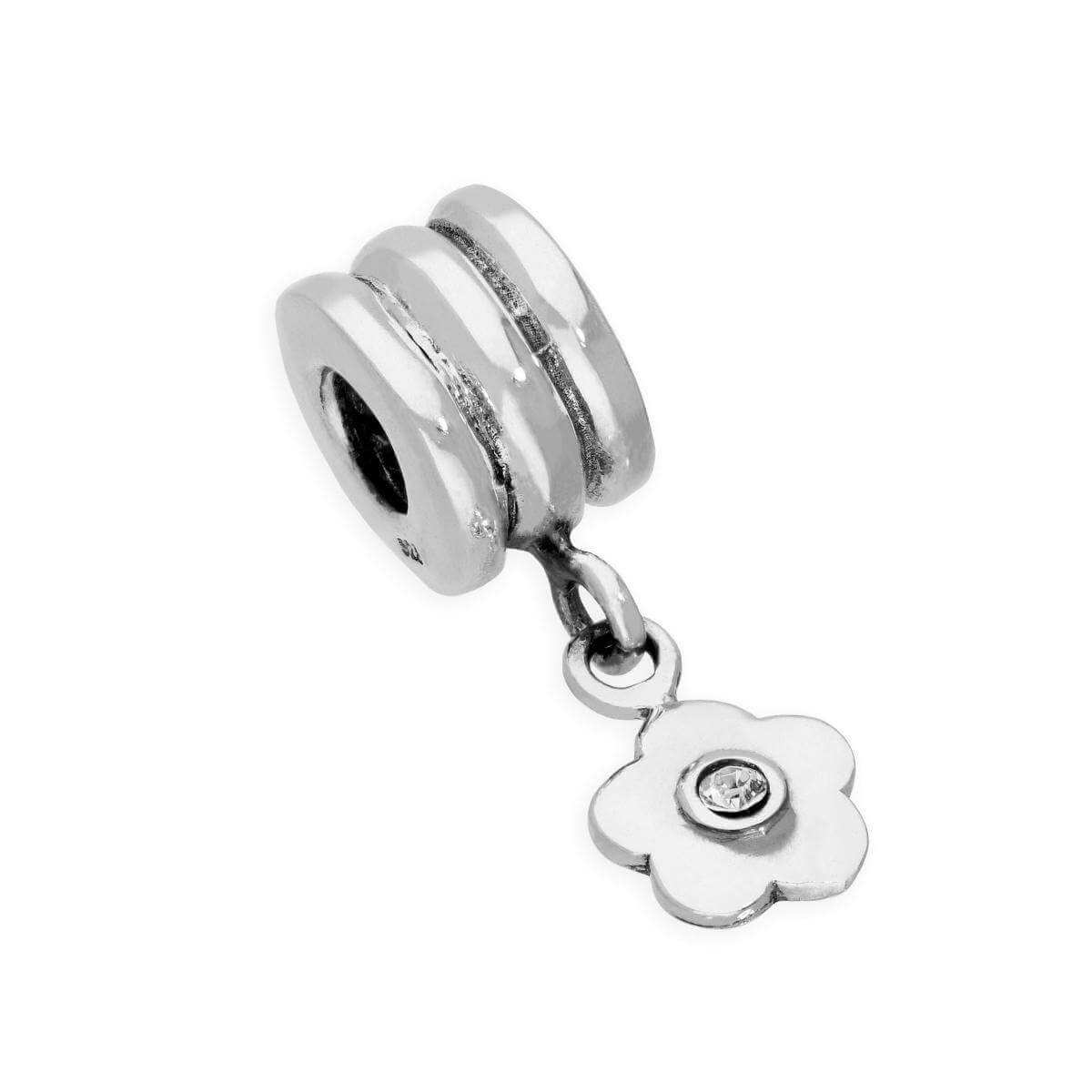 Sterling Silver & Clear CZ Crystal Bead Charm w Hanging Flower
