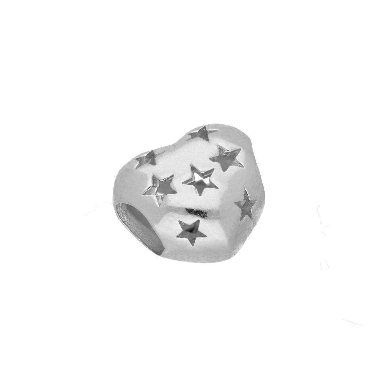 Sterling Silver Heart Bead Charm w Cut Out Stars