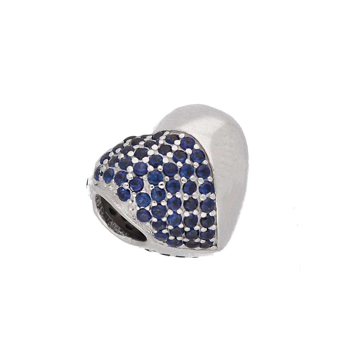 Sterling Silver & Blue CZ Crystal Two Tone Heart Bead Charm
