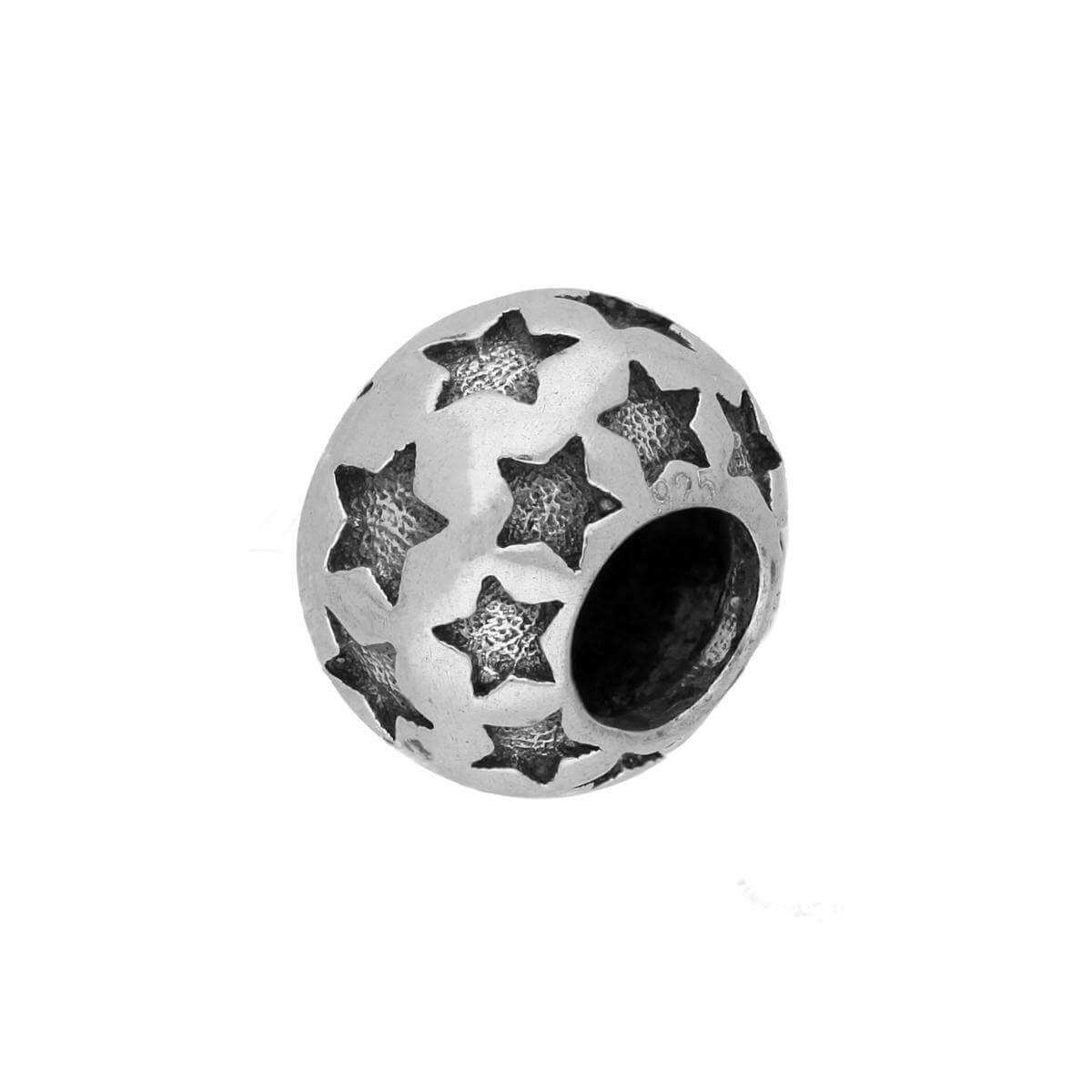 Sterling Silver Round Bead Charm w Cut Out Stars