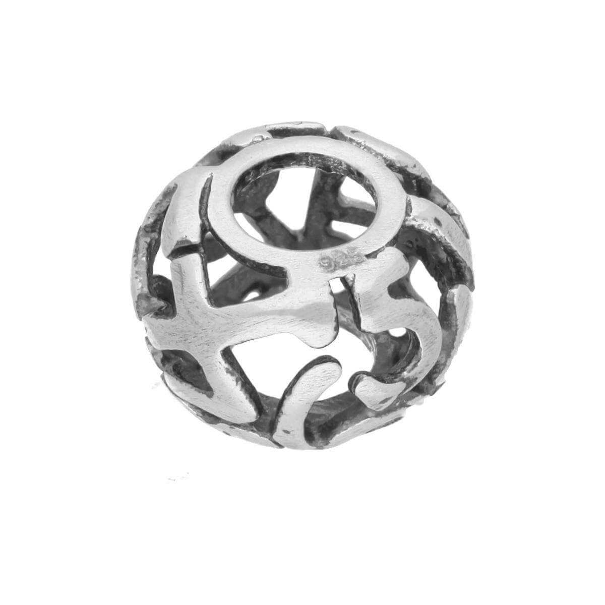 Sterling Silver Round Bead Charm w Cut Out Numbers